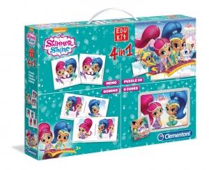 tanie zabawki SHIMMER and SHINE 4w1 PUZZLE DOMINO MEMO KLOCKI PLASTIKOWE