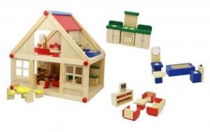 tanie zabawki WSPANIAŁY DREWNIANY DOMEK DLA LALEK Z MEBELKAMI