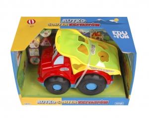 tanie zabawki AUTKO SORTER KSZTAŁTÓW WYWROTKA ARTYK CZERWONO-ZIELONO-ŻÓŁTY